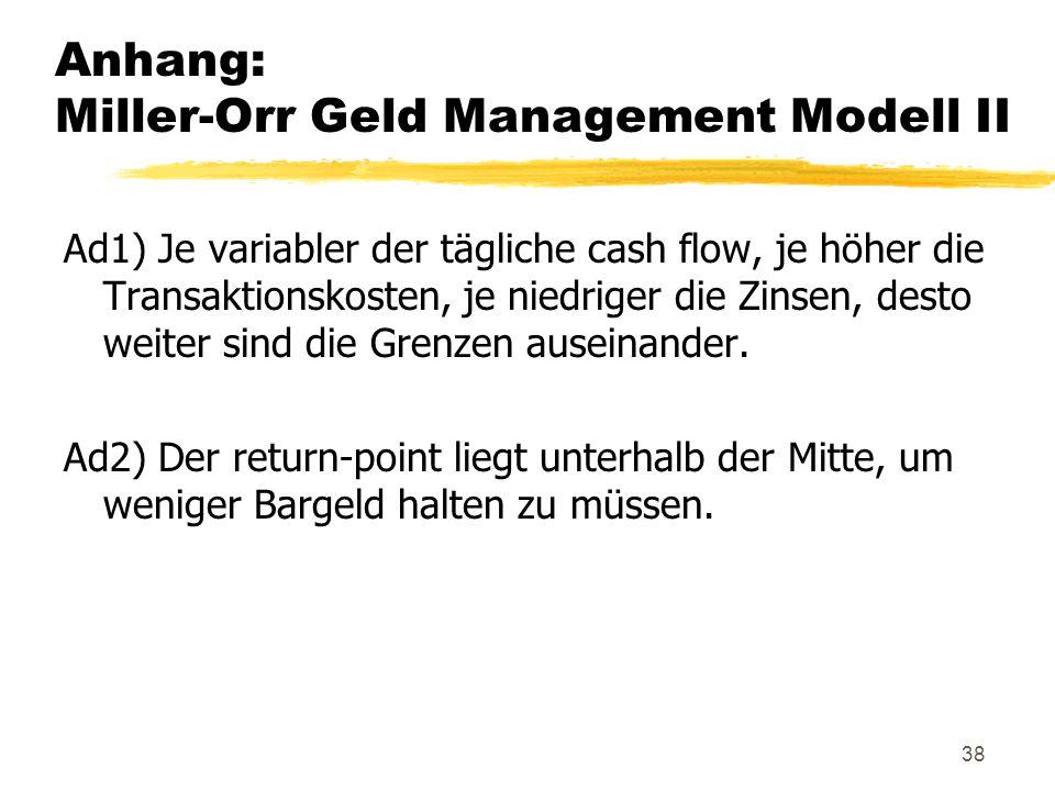 Anhang: Miller-Orr Geld Management Modell II