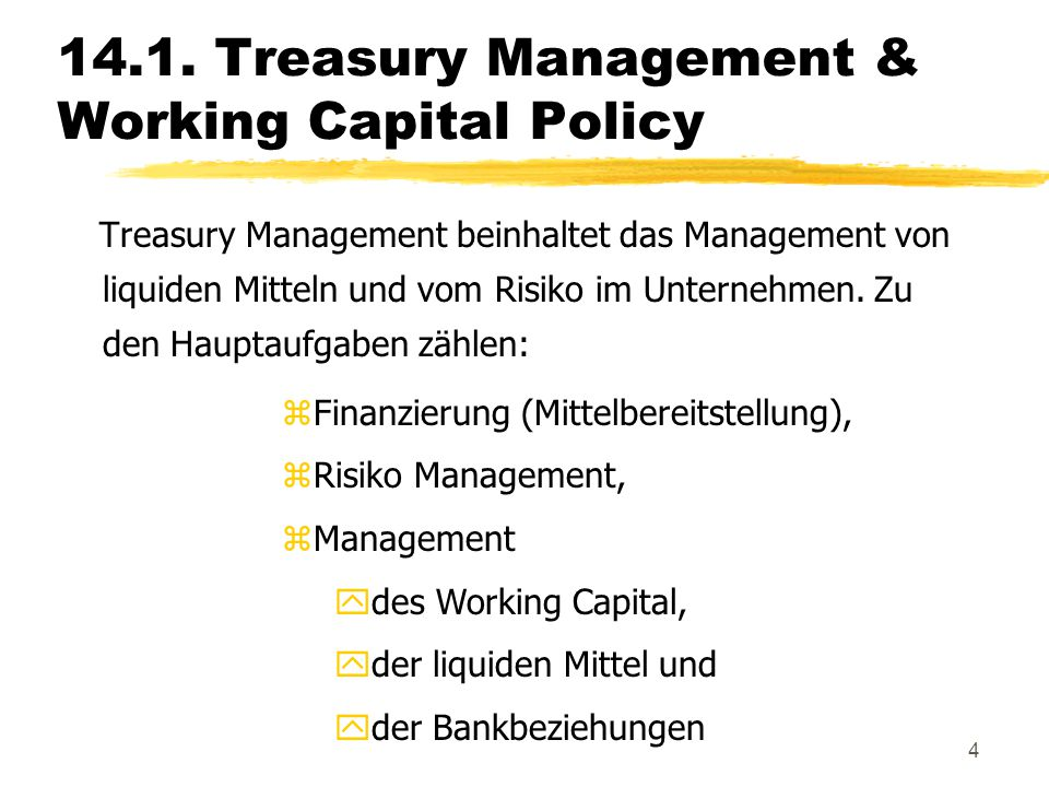 14.1. Treasury Management & Working Capital Policy