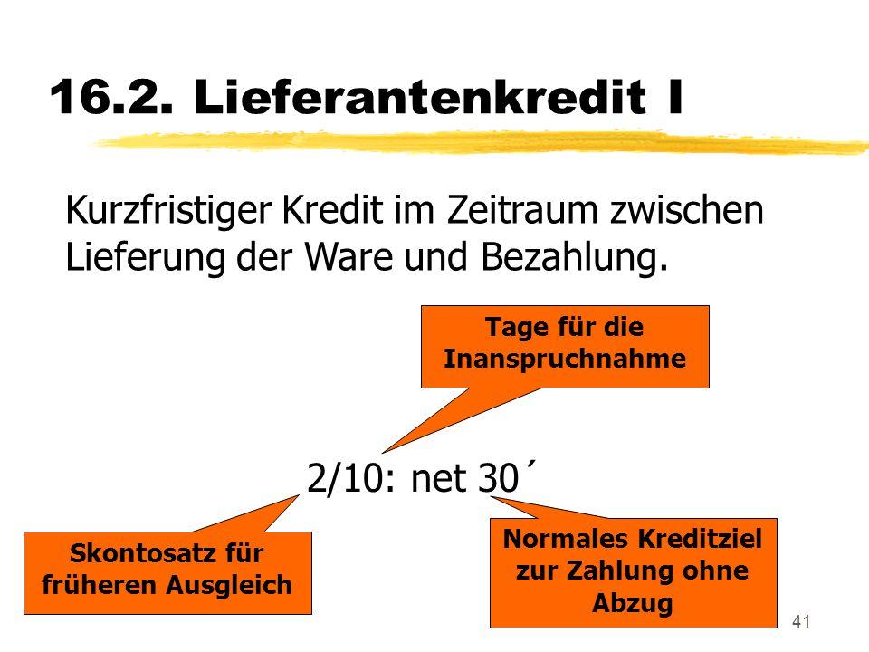 16.2. Lieferantenkredit I Kurzfristiger Kredit im Zeitraum zwischen