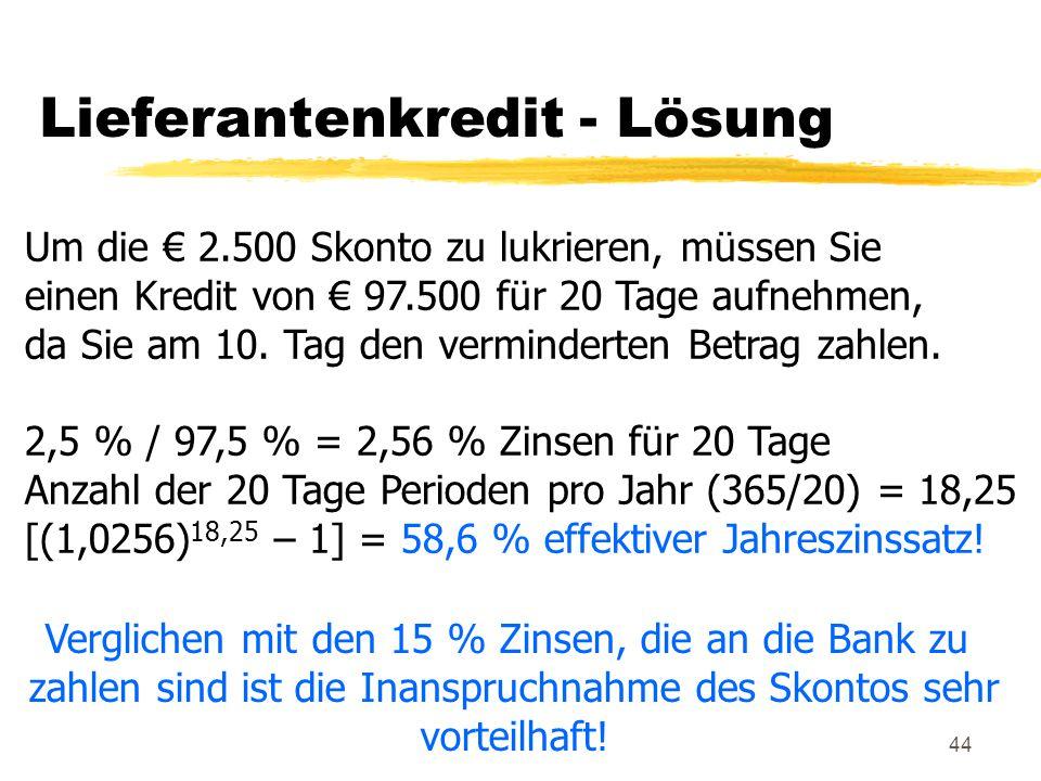 Lieferantenkredit - Lösung