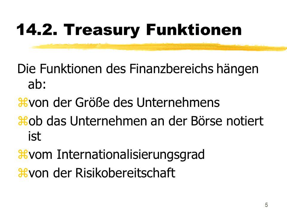 14.2. Treasury Funktionen Die Funktionen des Finanzbereichs hängen ab:
