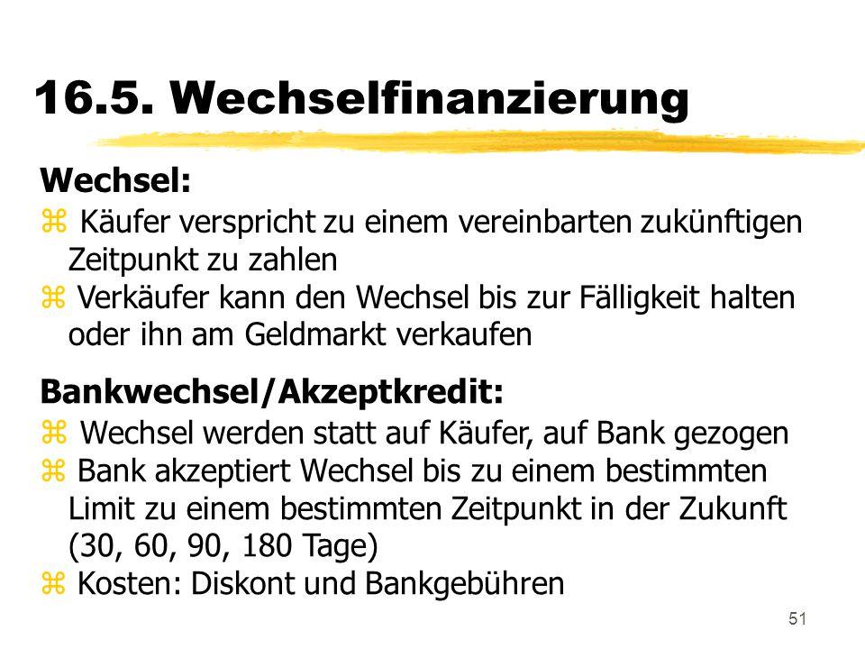 16.5. Wechselfinanzierung Wechsel: