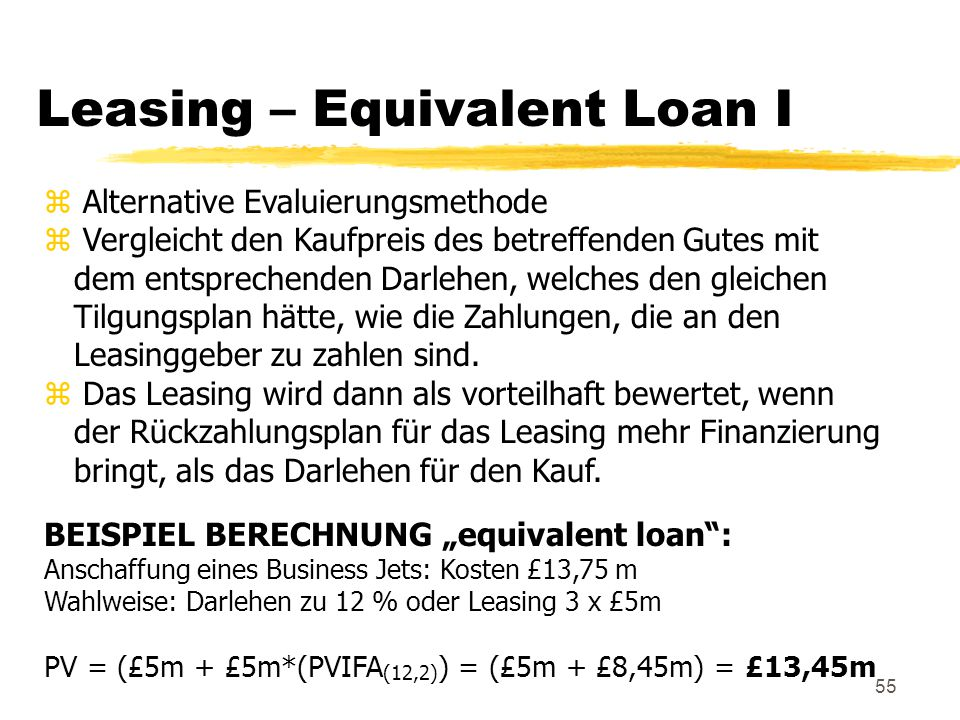 Leasing – Equivalent Loan I