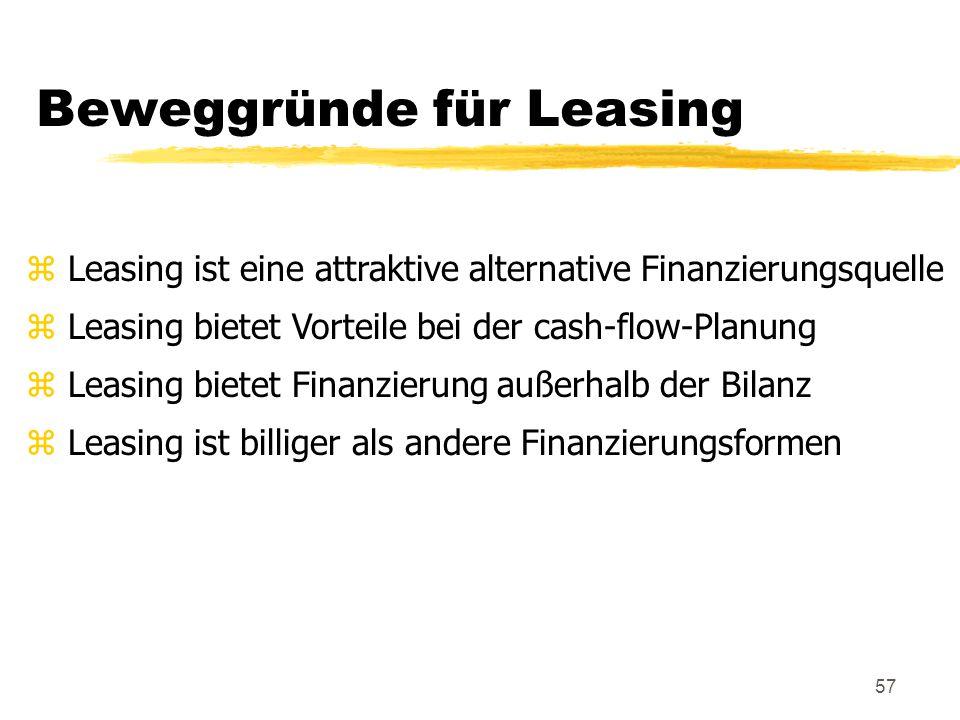 Beweggründe für Leasing