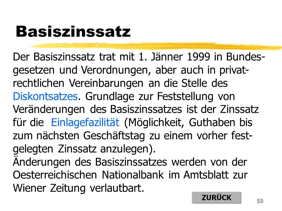 Basiszinssatz Der Basiszinssatz trat mit 1. Jänner 1999 in Bundes-