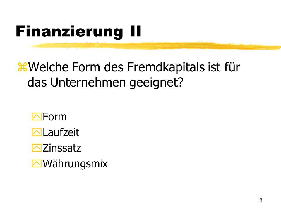Finanzierung II Welche Form des Fremdkapitals ist für das Unternehmen geeignet Form. Laufzeit. Zinssatz.