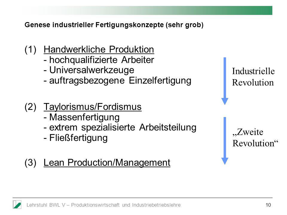 Genese industrieller Fertigungskonzepte (sehr grob)