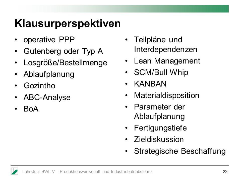 Klausurperspektiven operative PPP Gutenberg oder Typ A