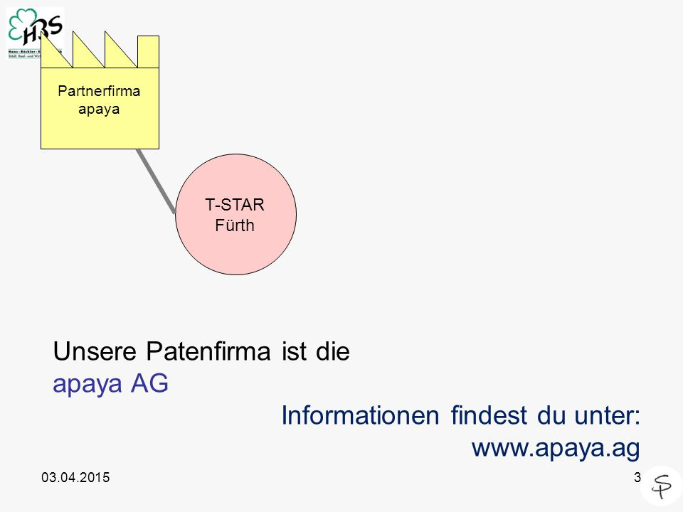 Unsere Patenfirma ist die apaya AG Informationen findest du unter:
