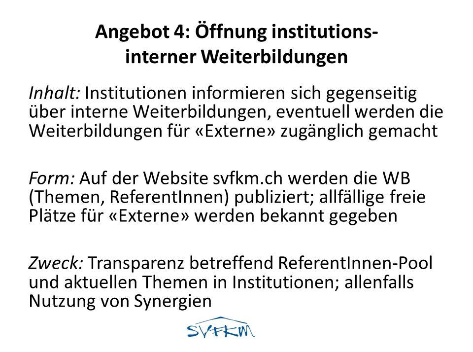 Angebot 4: Öffnung institutions- interner Weiterbildungen