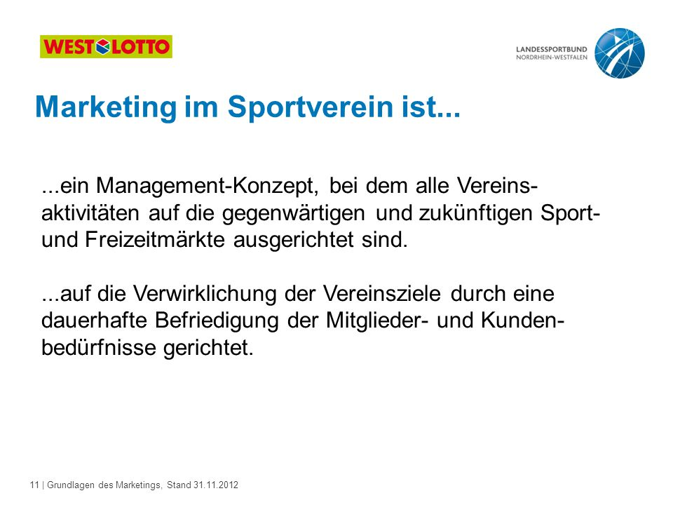 Marketing im Sportverein ist...