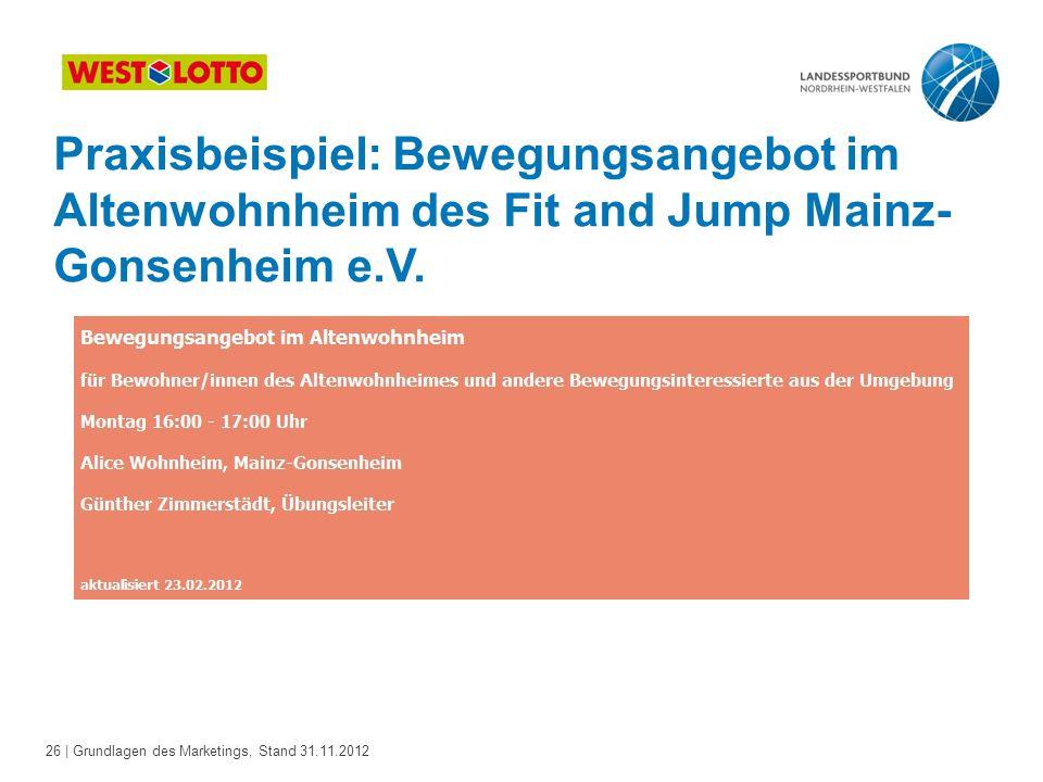 Praxisbeispiel: Bewegungsangebot im Altenwohnheim des Fit and Jump Mainz-Gonsenheim e.V.