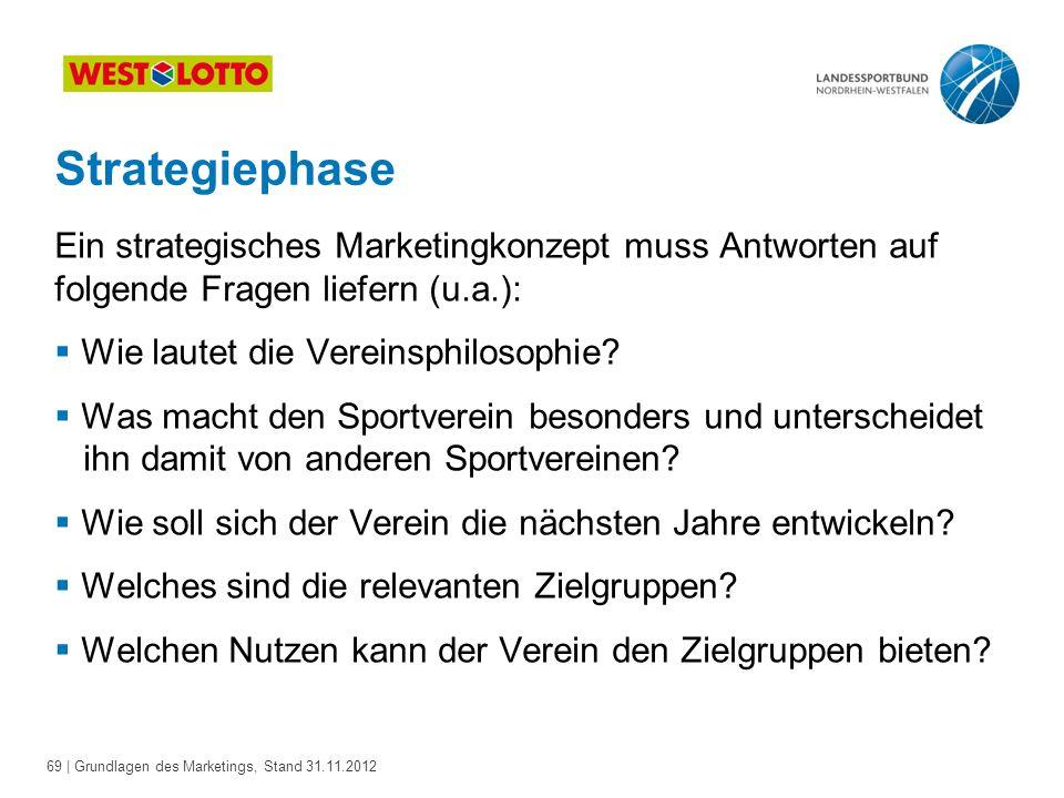 Strategiephase Ein strategisches Marketingkonzept muss Antworten auf folgende Fragen liefern (u.a.):