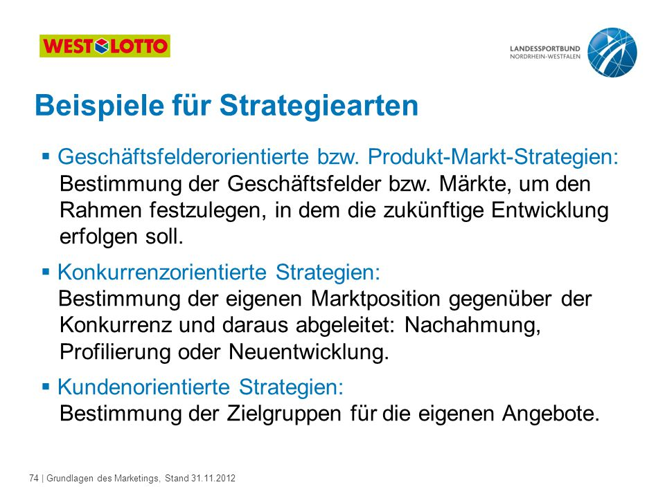Beispiele für Strategiearten