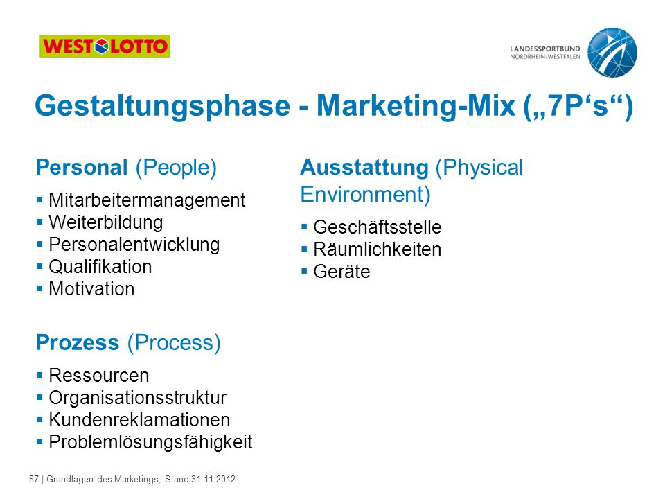"Gestaltungsphase - Marketing-Mix (""7P's )"
