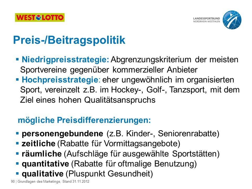 Preis-/Beitragspolitik