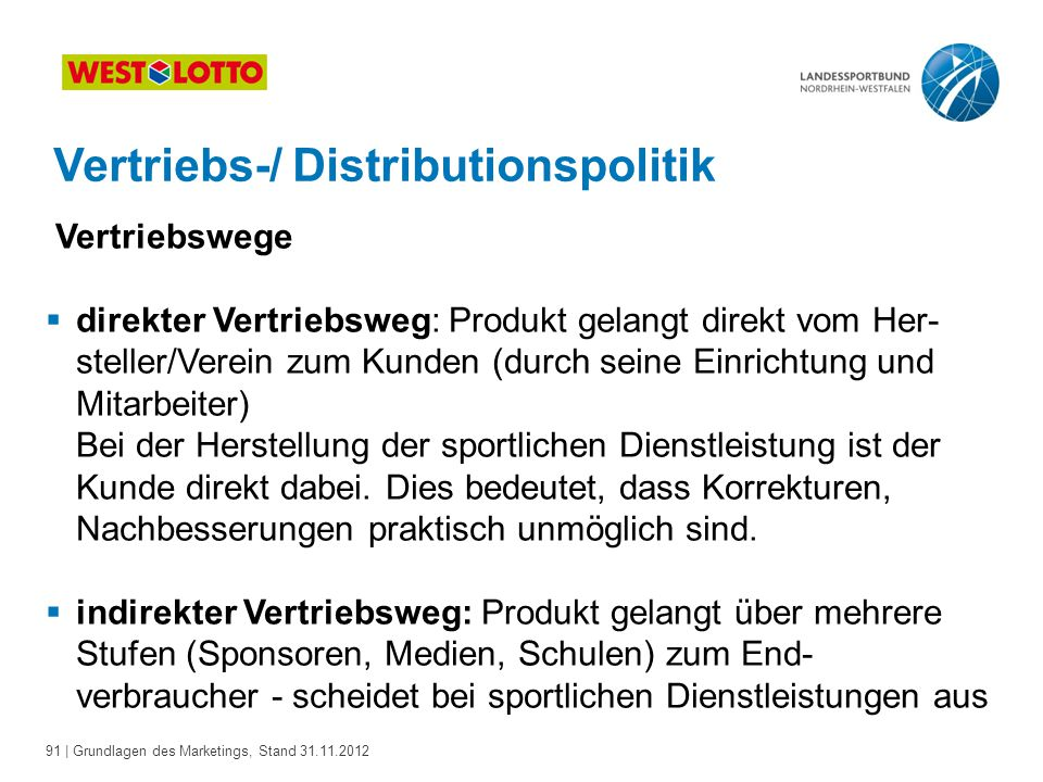 Vertriebs-/ Distributionspolitik