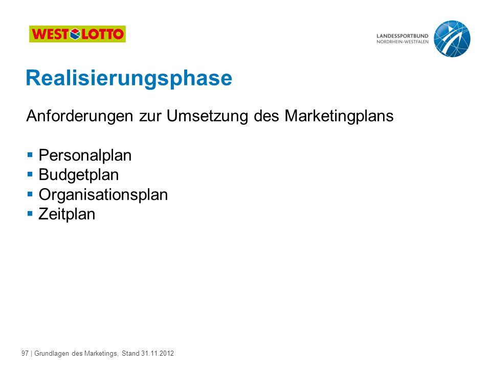 Realisierungsphase Anforderungen zur Umsetzung des Marketingplans
