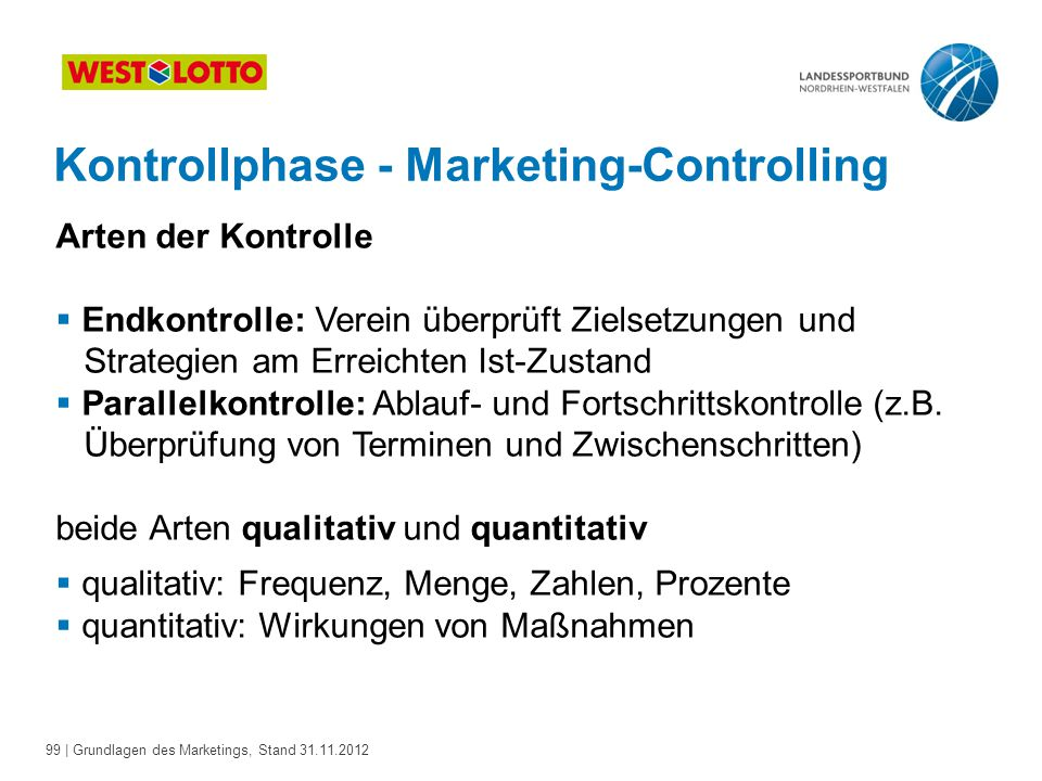 Kontrollphase - Marketing-Controlling