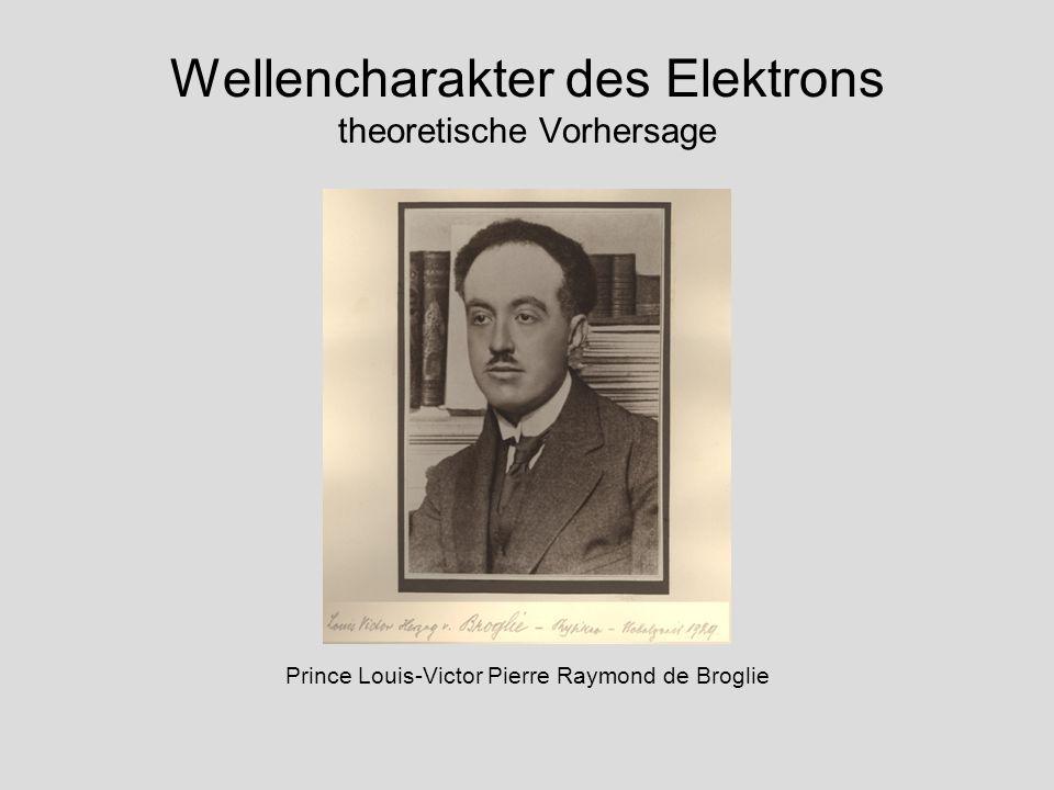 Wellencharakter des Elektrons theoretische Vorhersage