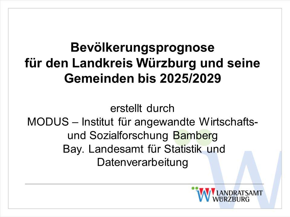 Bevölkerungsprognose für den Landkreis Würzburg und seine Gemeinden bis 2025/2029 erstellt durch MODUS – Institut für angewandte Wirtschafts- und Sozialforschung Bamberg Bay.