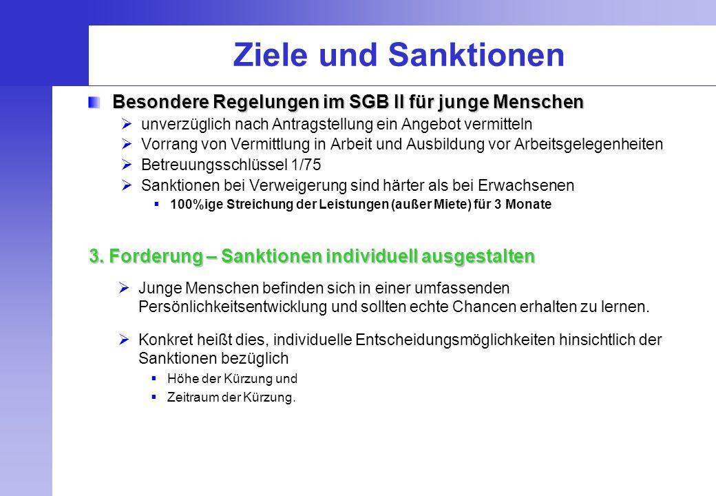 Ziele und Sanktionen Besondere Regelungen im SGB II für junge Menschen