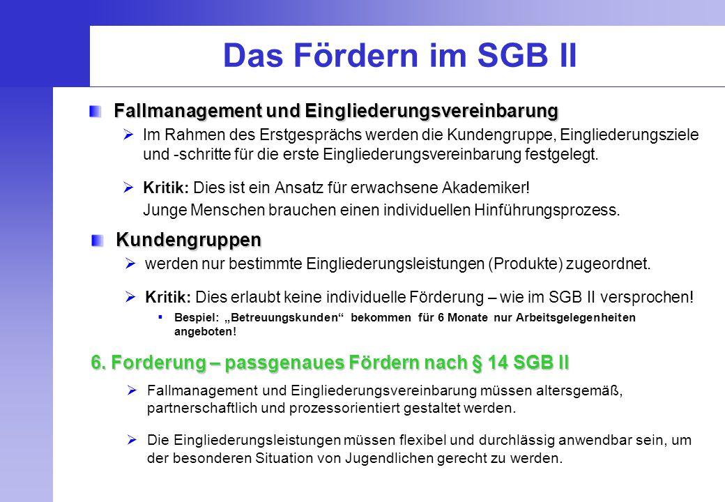 Das Fördern im SGB II Fallmanagement und Eingliederungsvereinbarung