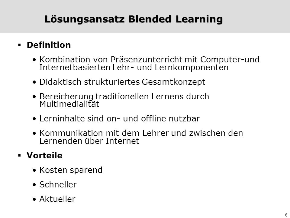 Lösungsansatz Blended Learning