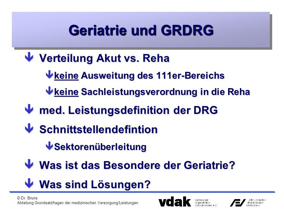 Geriatrie und GRDRG Verteilung Akut vs. Reha