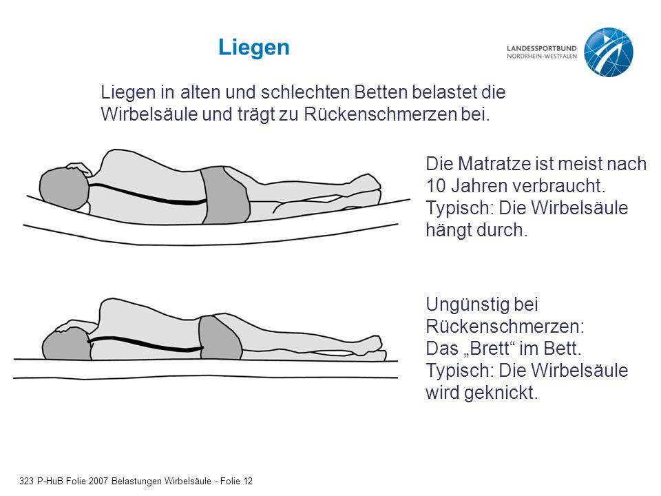 Liegen Liegen in alten und schlechten Betten belastet die Wirbelsäule und trägt zu Rückenschmerzen bei.