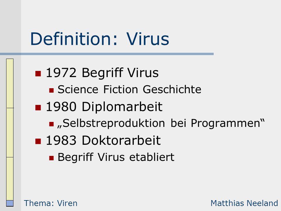 Definition: Virus 1972 Begriff Virus 1980 Diplomarbeit