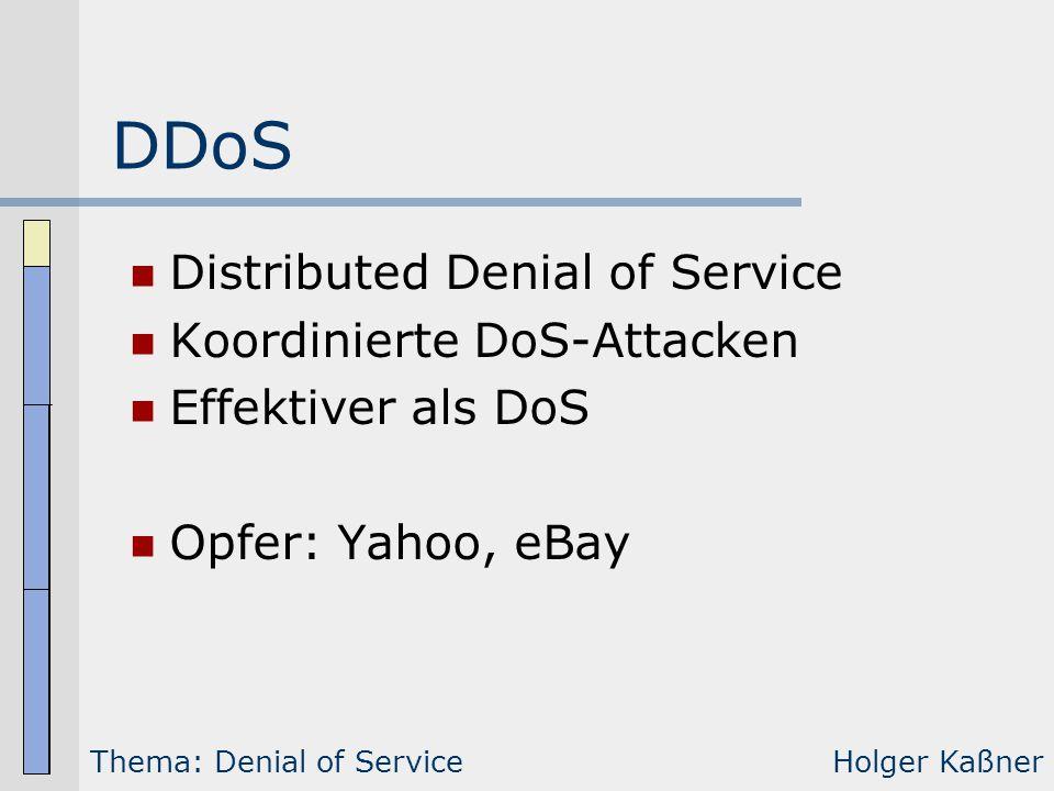 DDoS Distributed Denial of Service Koordinierte DoS-Attacken