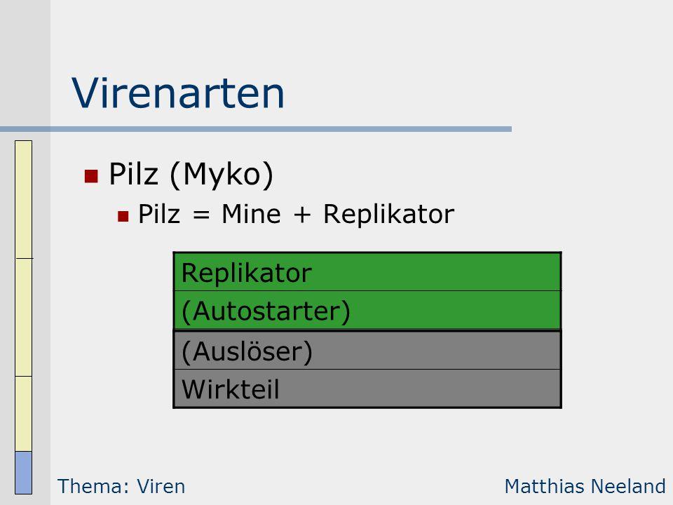 Virenarten Pilz (Myko) Pilz = Mine + Replikator Replikator