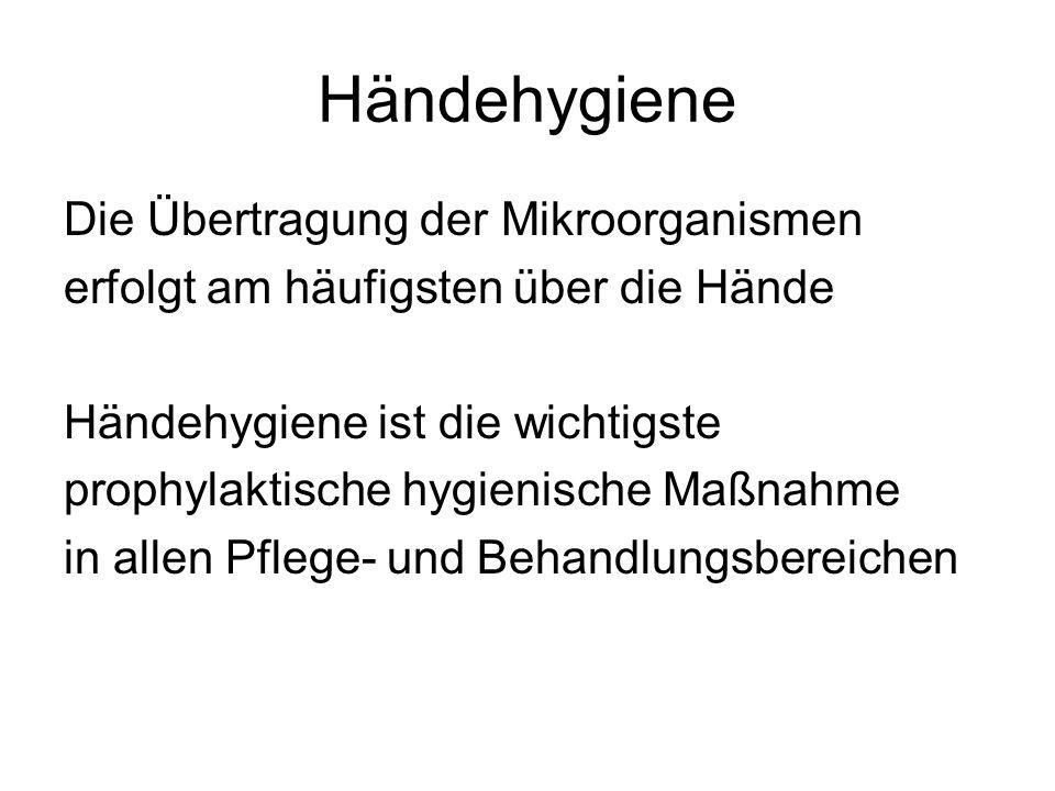 Händehygiene Die Übertragung der Mikroorganismen