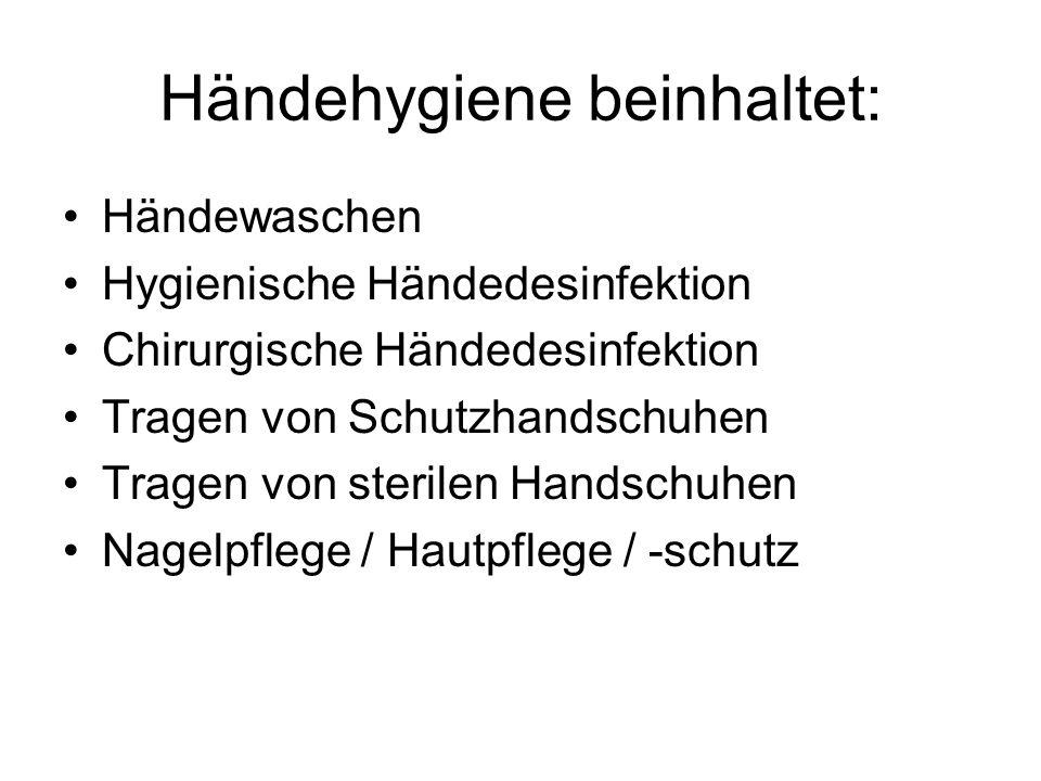 Händehygiene beinhaltet: