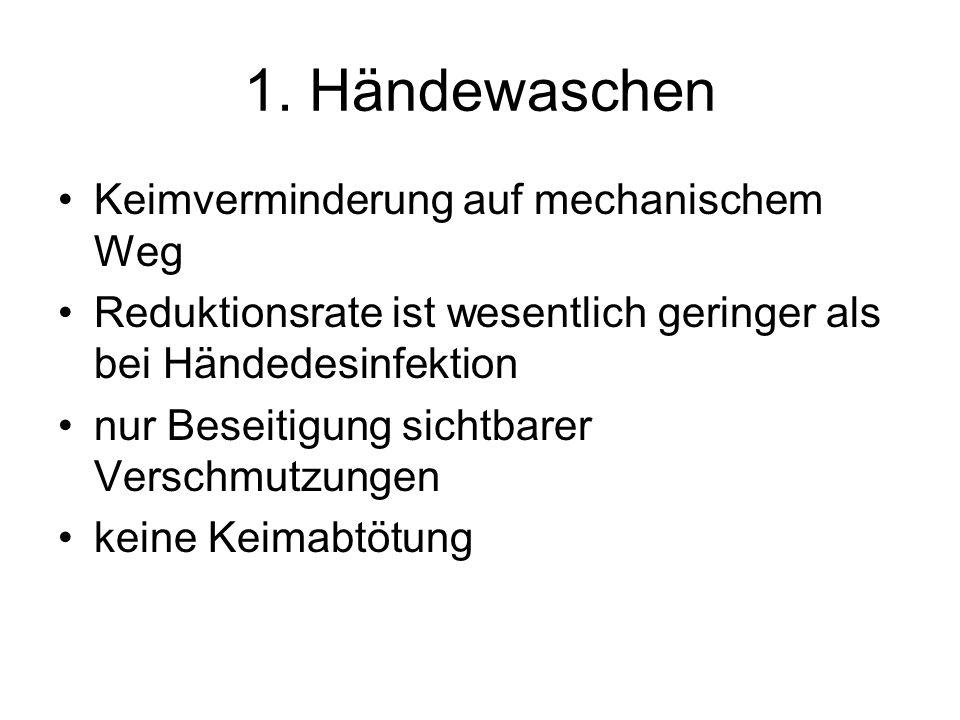 1. Händewaschen Keimverminderung auf mechanischem Weg