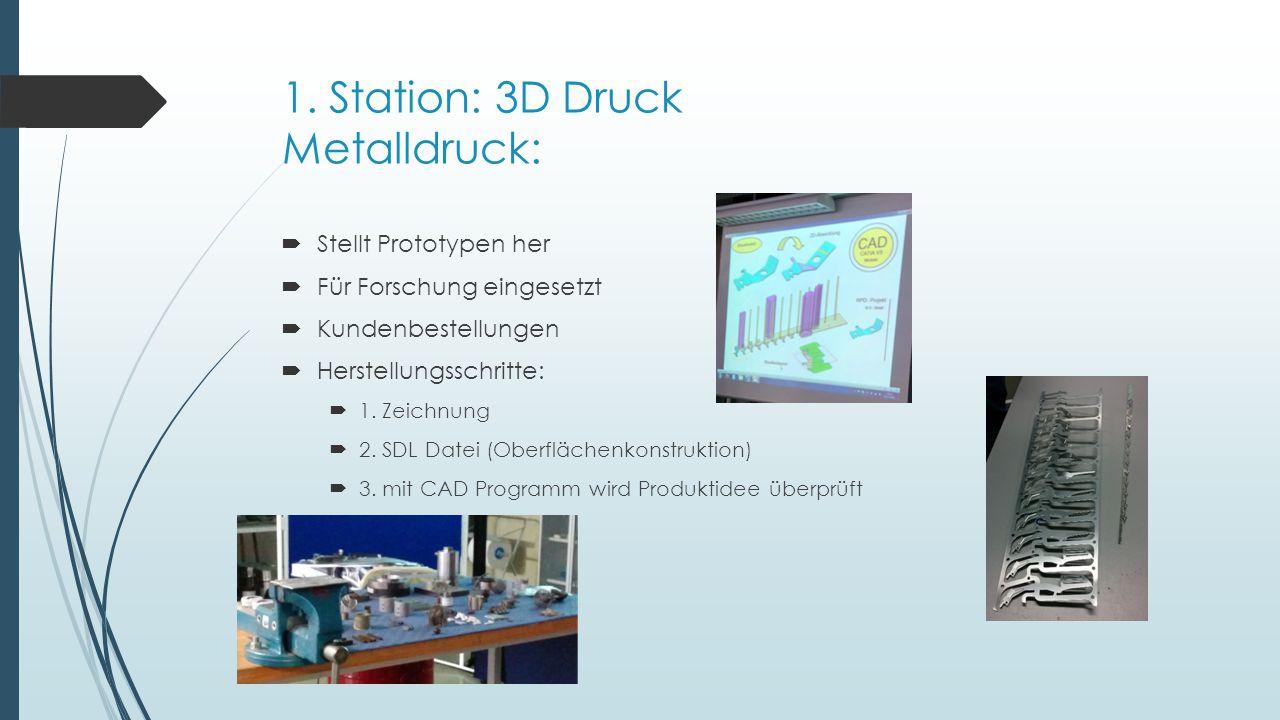 1. Station: 3D Druck Metalldruck: