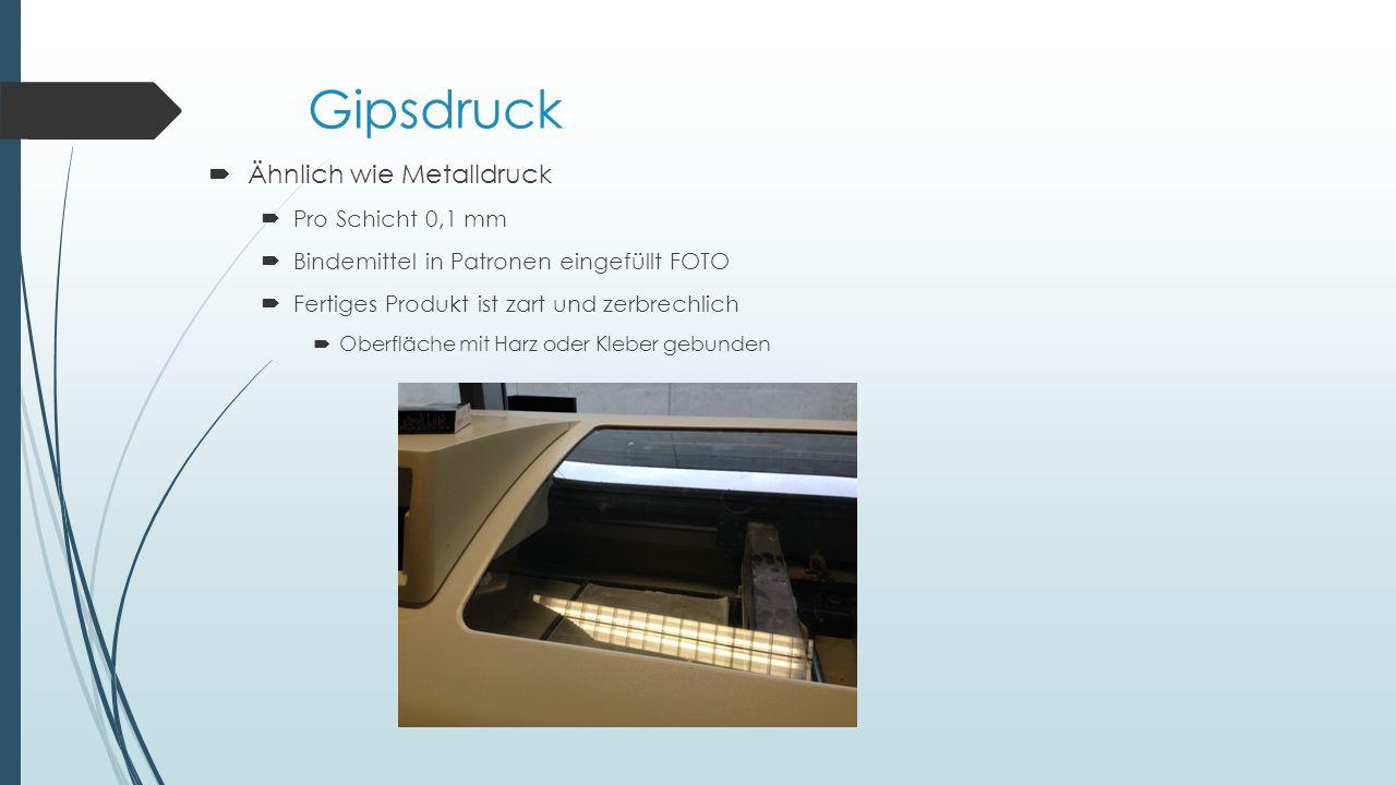 Gipsdruck Ähnlich wie Metalldruck Pro Schicht 0,1 mm