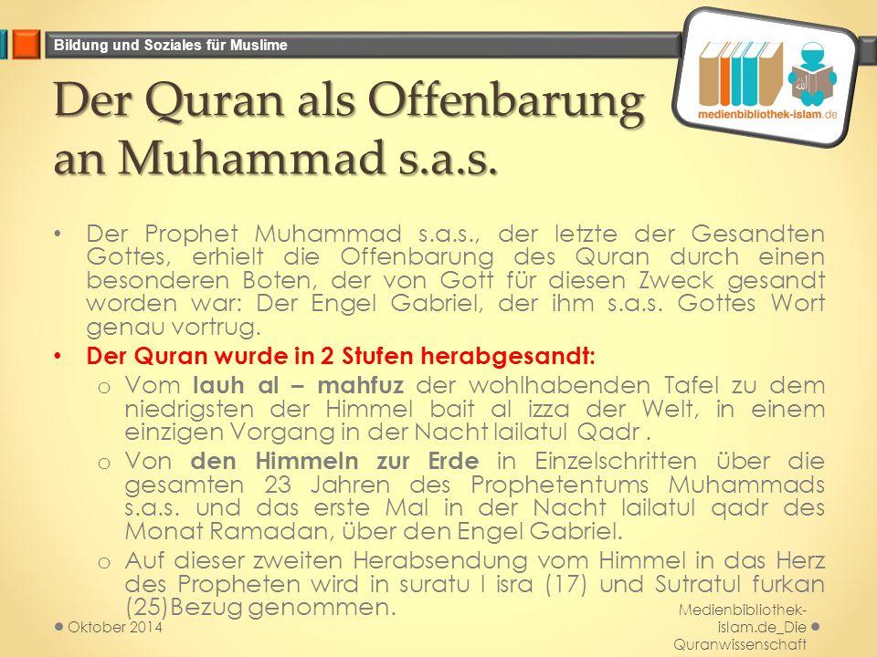 Der Quran als Offenbarung an Muhammad s.a.s.
