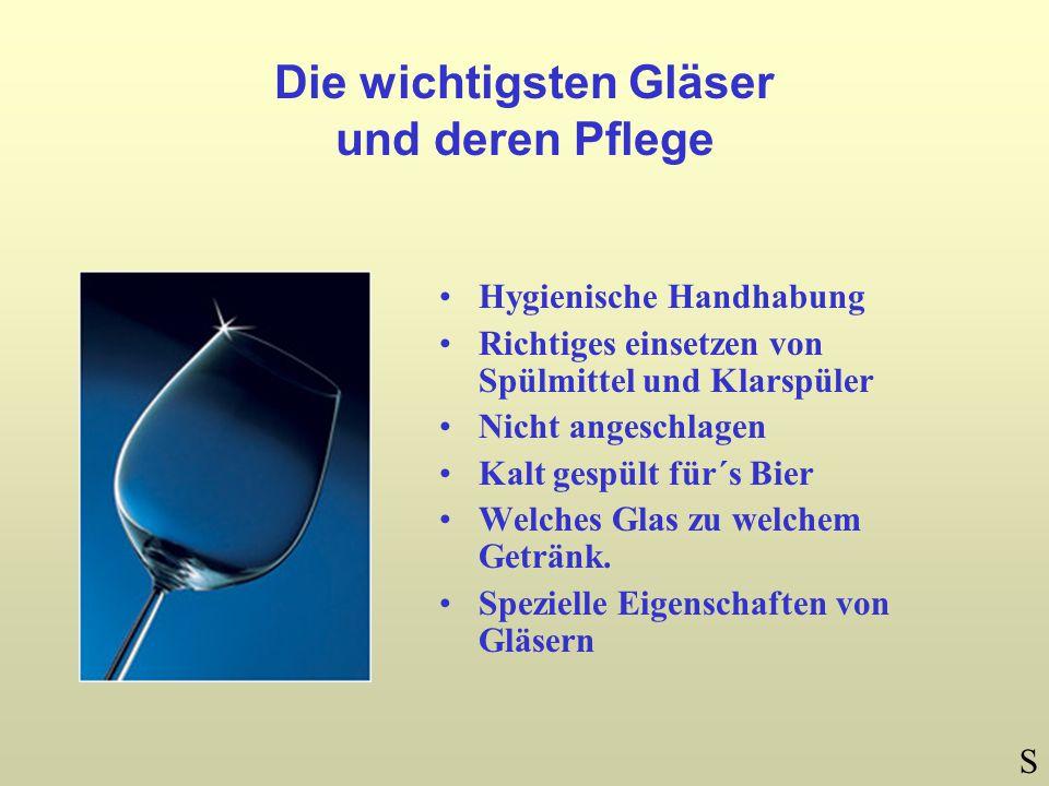 Die wichtigsten Gläser und deren Pflege