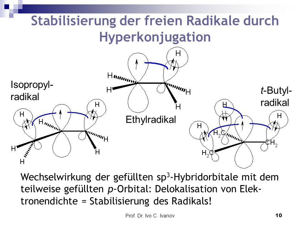 Stabilisierung der freien Radikale durch Hyperkonjugation