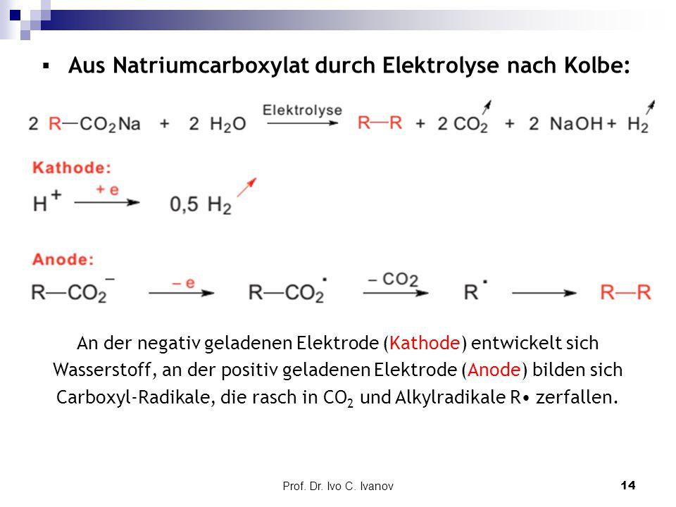 Aus Natriumcarboxylat durch Elektrolyse nach Kolbe: