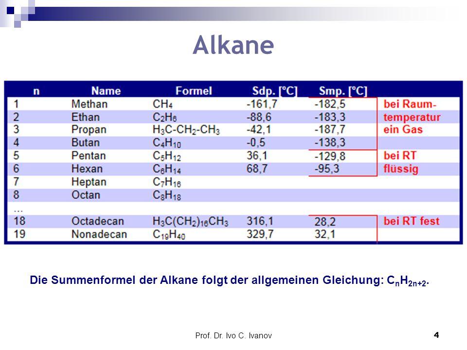 Die Summenformel der Alkane folgt der allgemeinen Gleichung: CnH2n+2.