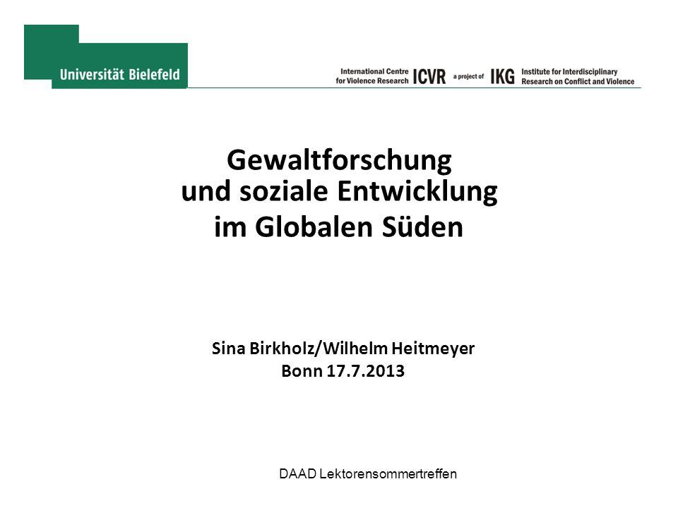 Gewaltforschung und soziale Entwicklung