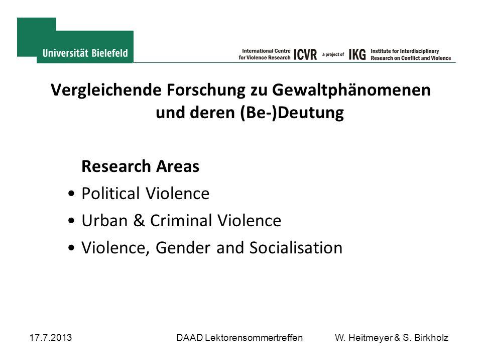 Vergleichende Forschung zu Gewaltphänomenen und deren (Be-)Deutung