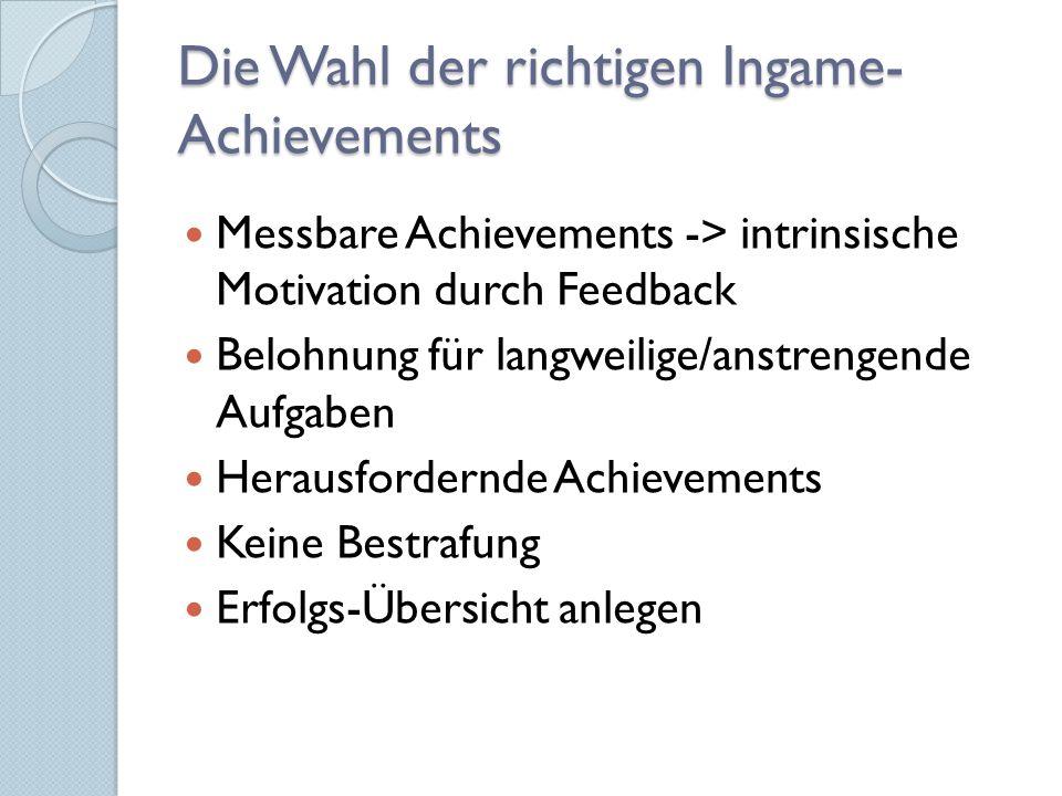 Die Wahl der richtigen Ingame-Achievements