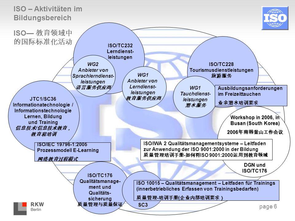 ISO – Aktivitäten im Bildungsbereich