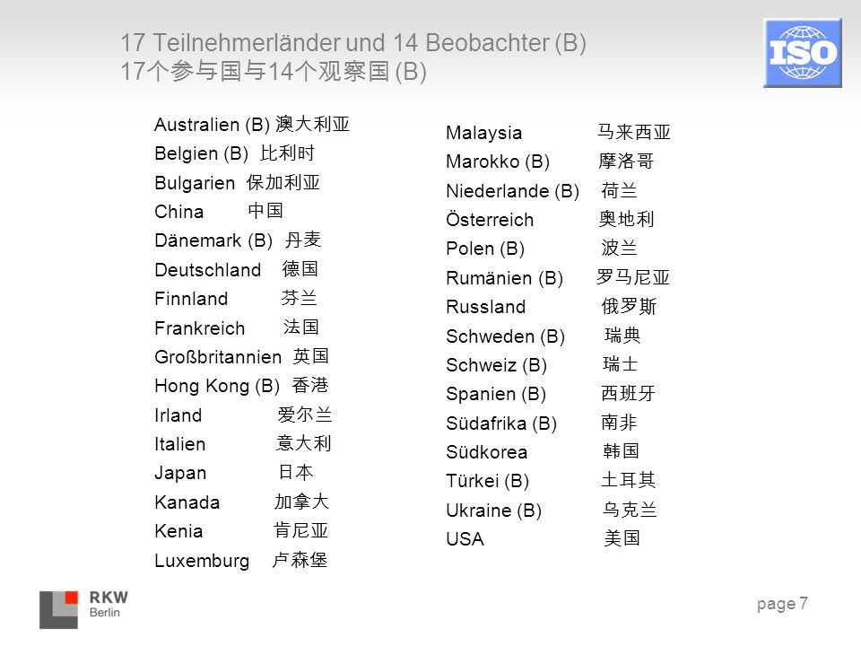 17 Teilnehmerländer und 14 Beobachter (B) 17个参与国与14个观察国 (B)