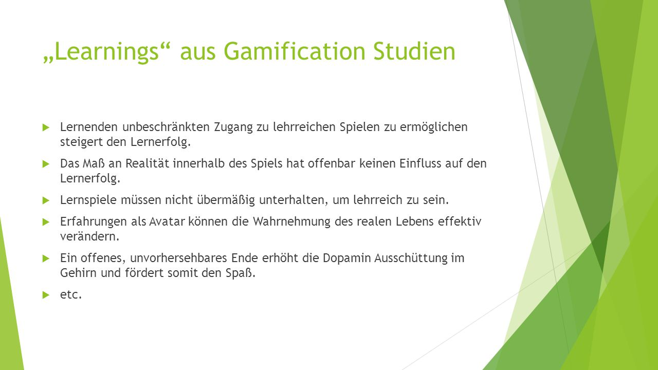 """Learnings aus Gamification Studien"