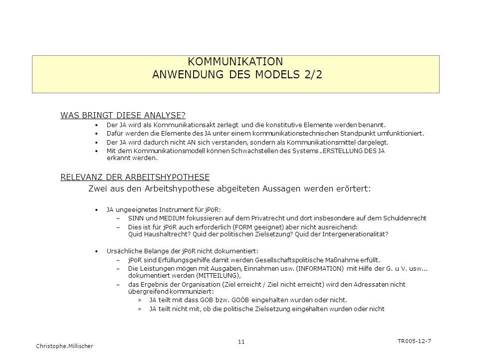 KOMMUNIKATION ANWENDUNG DES MODELS 2/2
